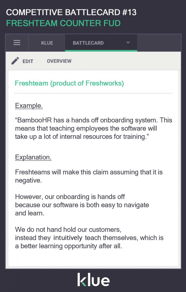 Freshteam Counter FUD Sales Battlecard Example Template